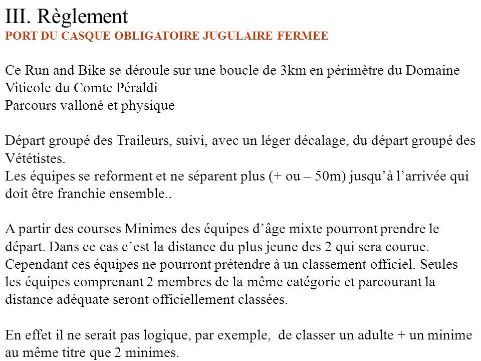 III. Règlement PORT DU CASQUE OBLIGATOIRE JUGULAIRE FERMEE Ce Run and Bike se déroule sur une boucle de 3km en périmètre du Domaine Viticole du Comte