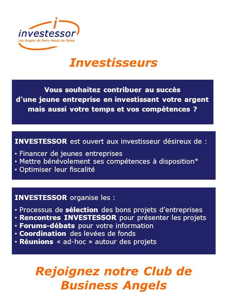 Vous souhaitez contribuer au succès d'une jeune entreprise en investissant votre argent mais aussi votre temps et vos compétences ? INVESTESSOR est ou