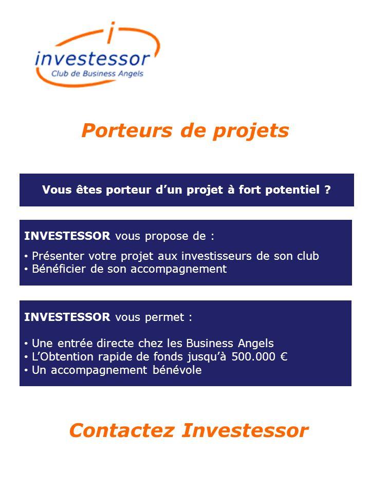 Contactez Investessor INVESTESSOR vous permet : Une entrée directe chez les Business Angels LObtention rapide de fonds jusquà 500.000 Un accompagnemen