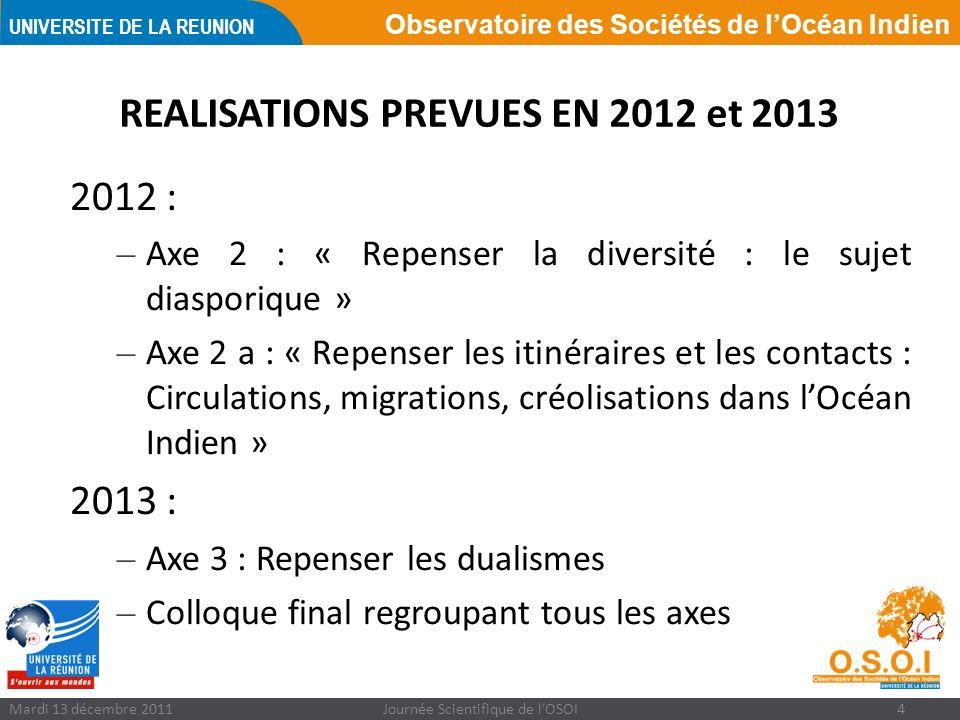 Observatoire des Sociétés de lOcéan Indien UNIVERSITE DE LA REUNION Mardi 13 décembre 2011Journée Scientifique de lOSOI4 REALISATIONS PREVUES EN 2012 et 2013 2012 : – Axe 2 : « Repenser la diversité : le sujet diasporique » – Axe 2 a : « Repenser les itinéraires et les contacts : Circulations, migrations, créolisations dans lOcéan Indien » 2013 : – Axe 3 : Repenser les dualismes – Colloque final regroupant tous les axes
