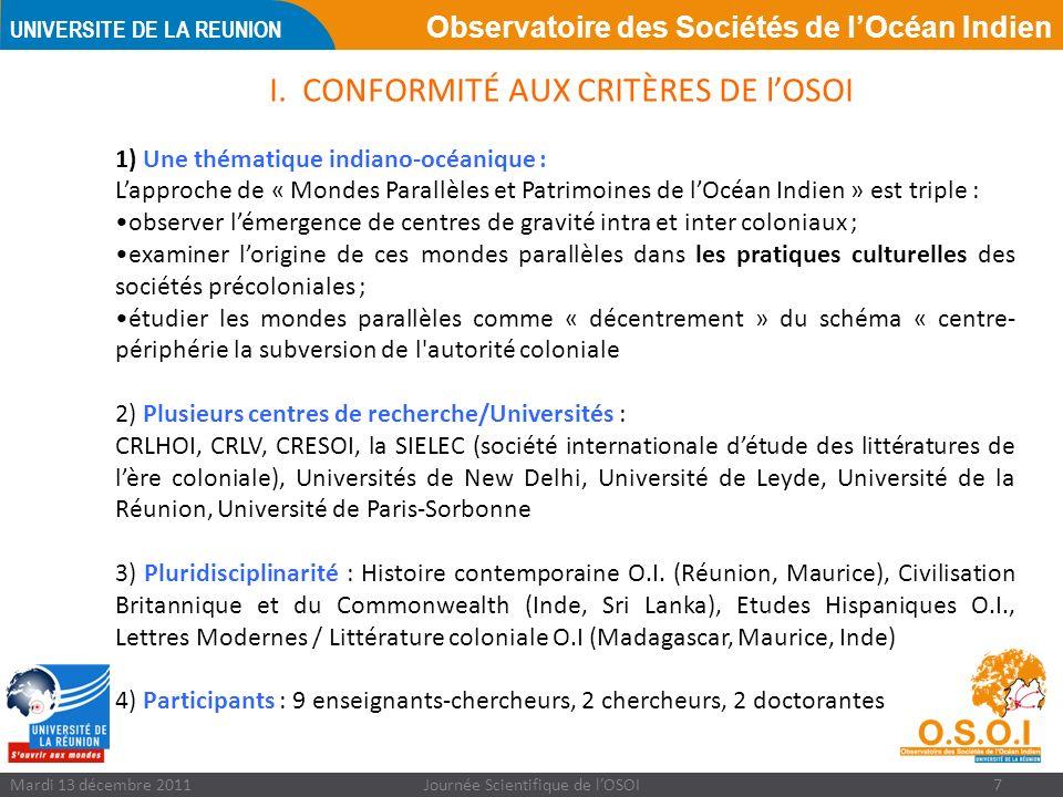 Observatoire des Sociétés de lOcéan Indien UNIVERSITE DE LA REUNION Mardi 13 décembre 2011Journée Scientifique de lOSOI7 I.