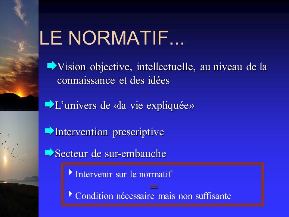 LE NORMATIF... Lunivers de «la vie expliquée» Lunivers de «la vie expliquée» Intervention prescriptive Intervention prescriptive Secteur de sur-embauc