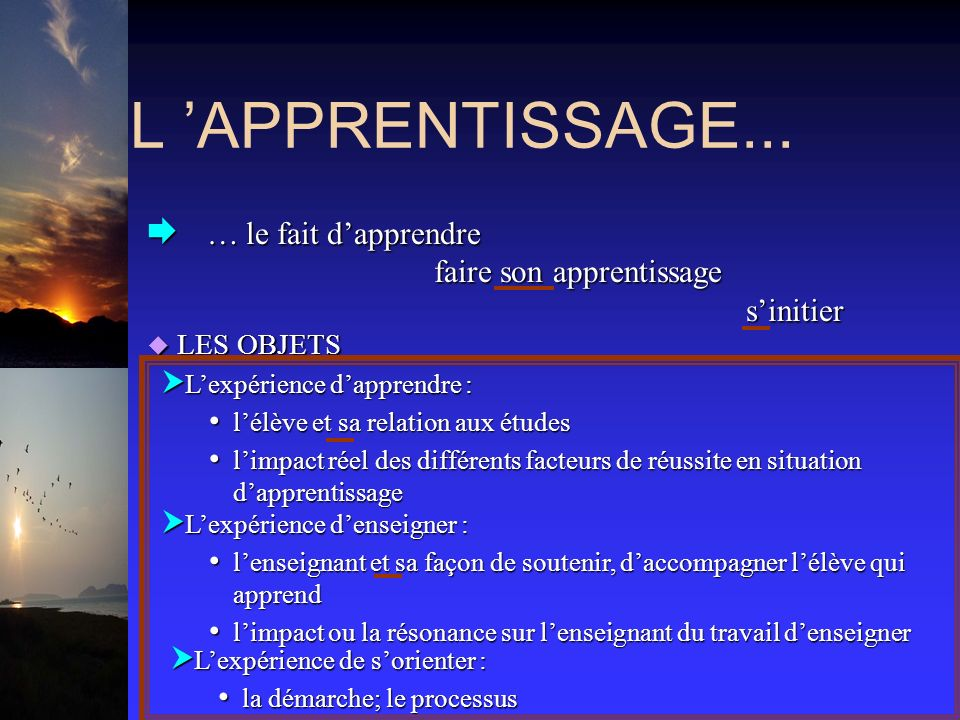 L APPRENTISSAGE...