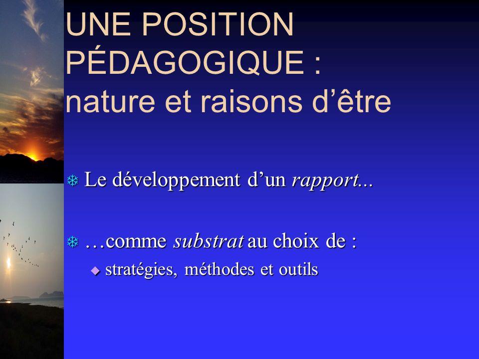 UNE POSITION PÉDAGOGIQUE : nature et raisons dêtre T Le développement dun rapport... T …comme substrat au choix de : stratégies, méthodes et outils st