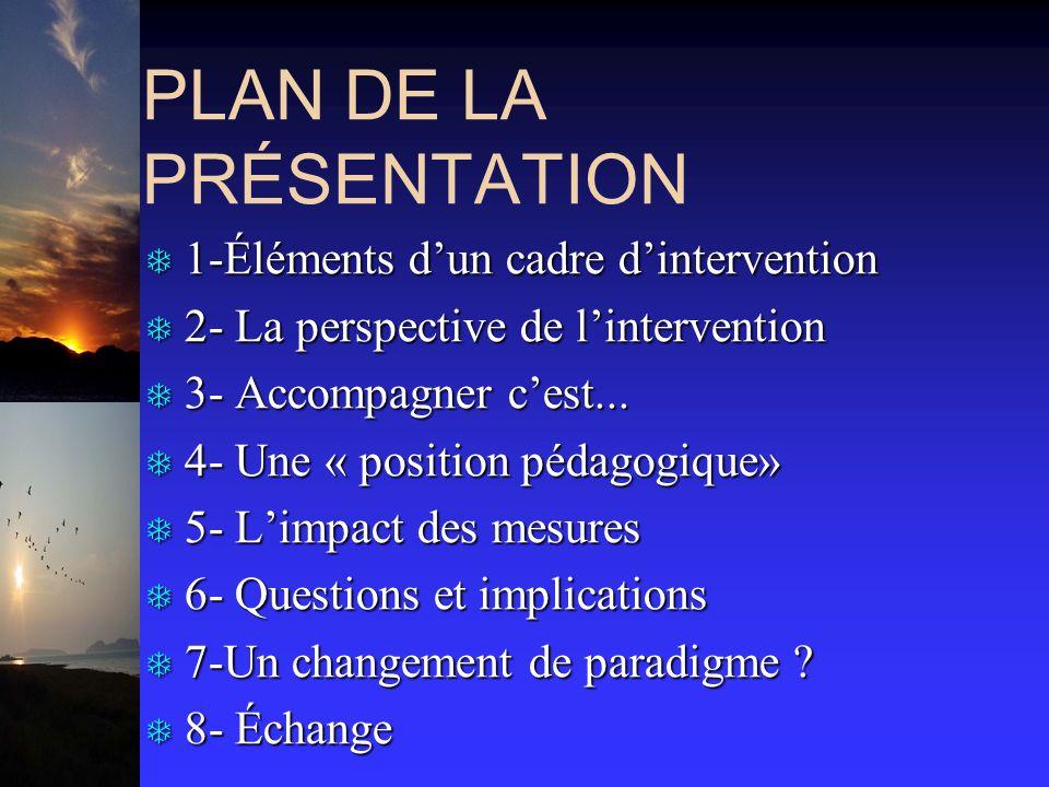 PLAN DE LA PRÉSENTATION T 1-Éléments dun cadre dintervention T 2- La perspective de lintervention T 3- Accompagner cest... T 4- Une « position pédagog