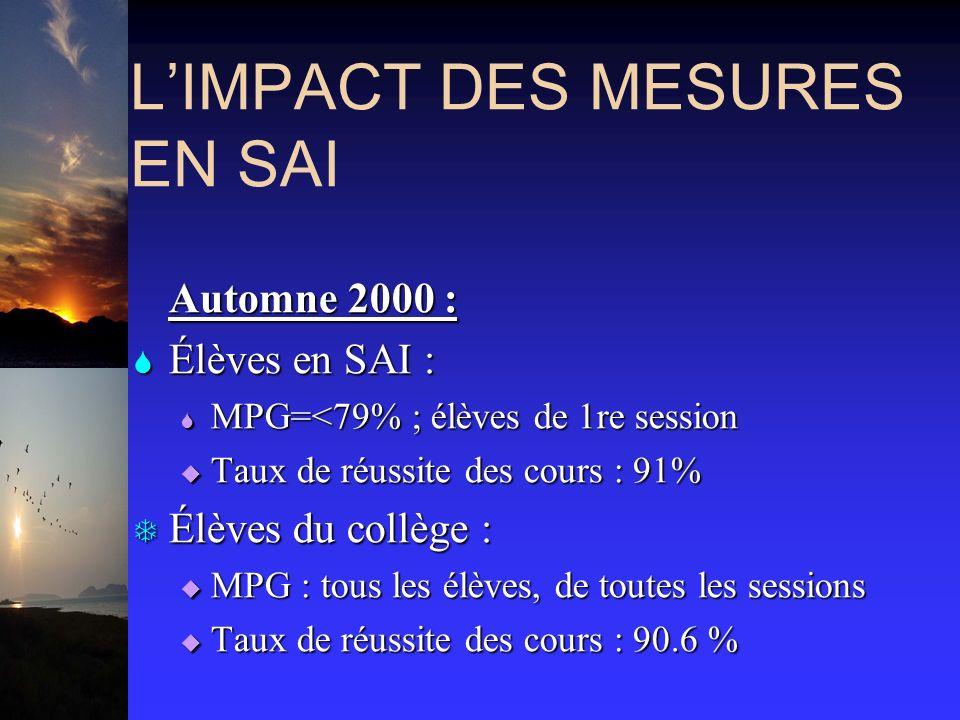 LIMPACT DES MESURES EN SAI Automne 2000 : Automne 2000 : S Élèves en SAI : S MPG=<79% ; élèves de 1re session Taux de réussite des cours : 91% Taux de