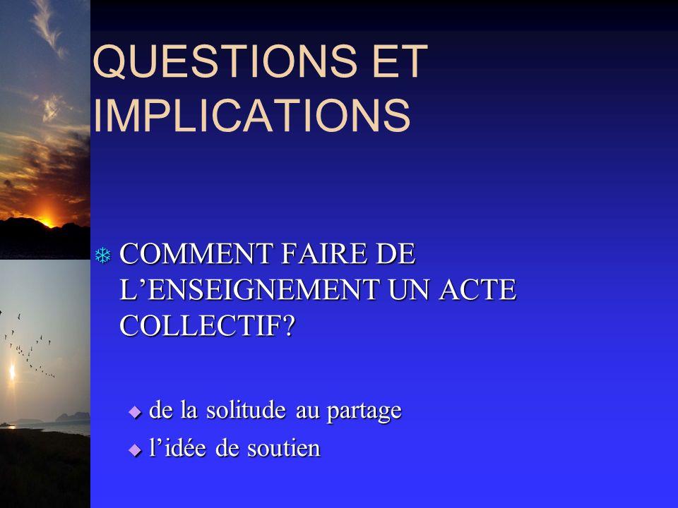 QUESTIONS ET IMPLICATIONS T COMMENT FAIRE DE LENSEIGNEMENT UN ACTE COLLECTIF.