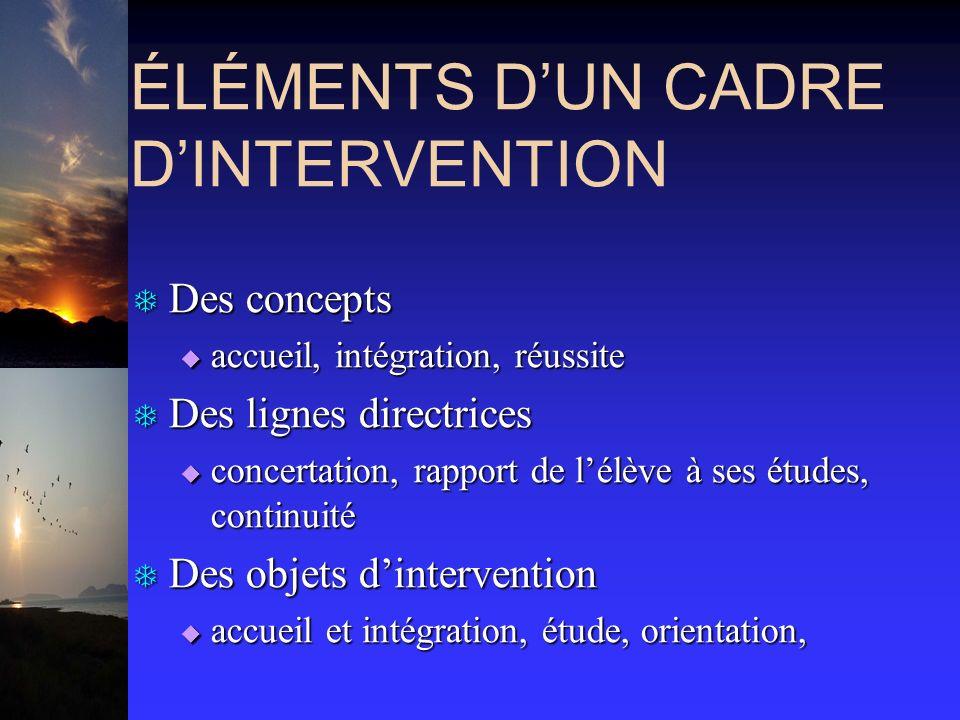 ÉLÉMENTS DUN CADRE DINTERVENTION T Des concepts accueil, intégration, réussite accueil, intégration, réussite T Des lignes directrices concertation, r