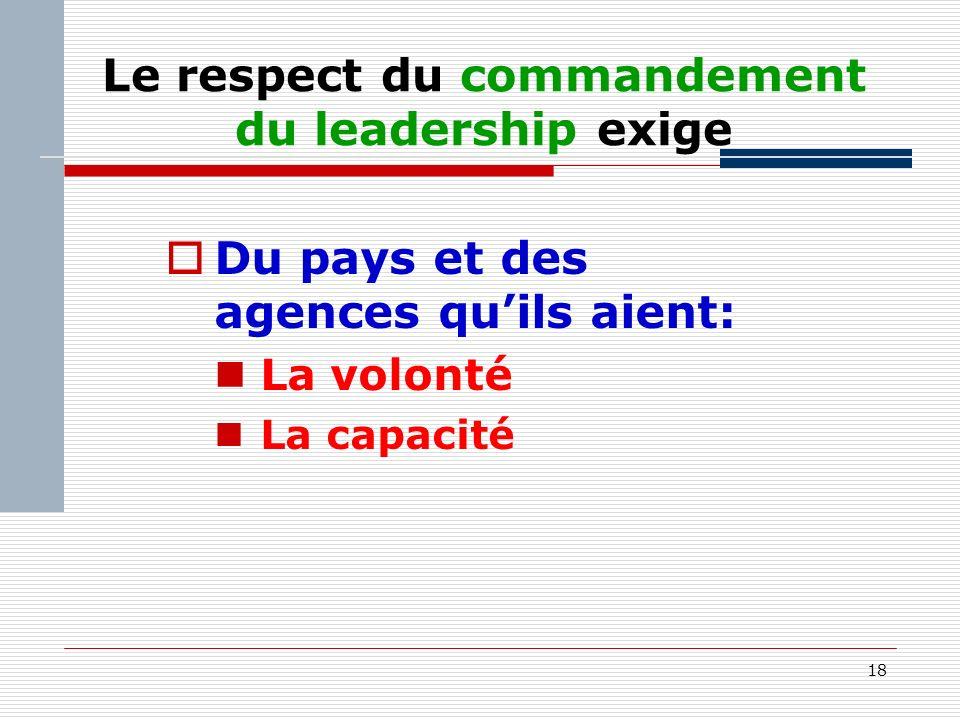 18 Le respect du commandement du leadership exige Du pays et des agences quils aient: La volonté La capacité
