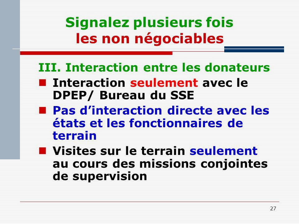 27 Signalez plusieurs fois les non négociables III.
