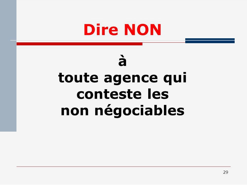 29 Dire NON à toute agence qui conteste les non négociables