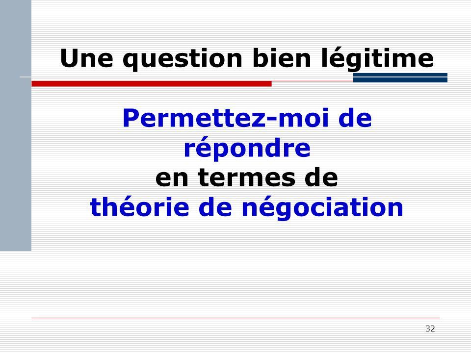 32 Une question bien légitime Permettez-moi de répondre en termes de théorie de négociation