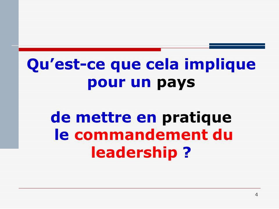 4 Quest-ce que cela implique pour un pays de mettre en pratique le commandement du leadership