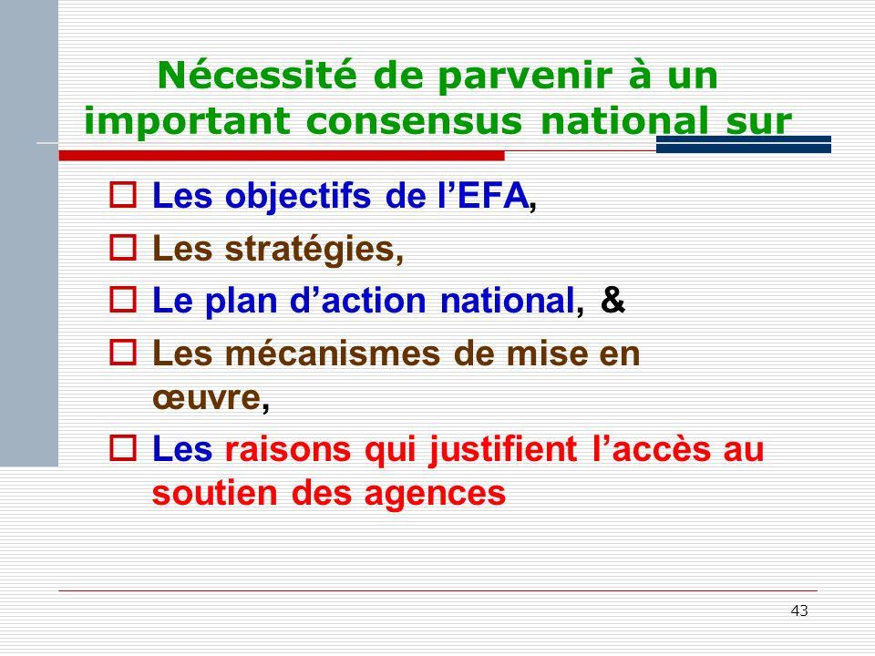 43 Nécessité de parvenir à un important consensus national sur Les objectifs de lEFA, Les stratégies, Le plan daction national, & Les mécanismes de mise en œuvre, Les raisons qui justifient laccès au soutien des agences