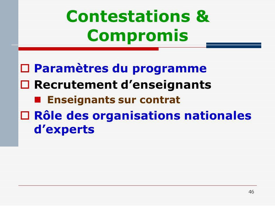 46 Contestations & Compromis Paramètres du programme Recrutement denseignants Enseignants sur contrat Rôle des organisations nationales dexperts