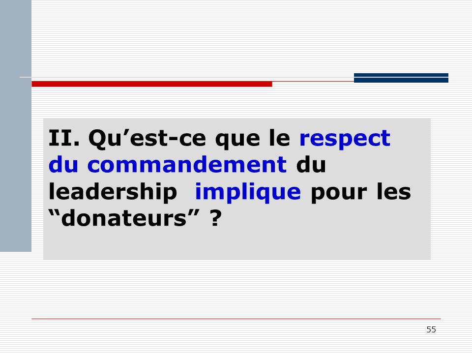 55 II. Quest-ce que le respect du commandement du leadership implique pour les donateurs
