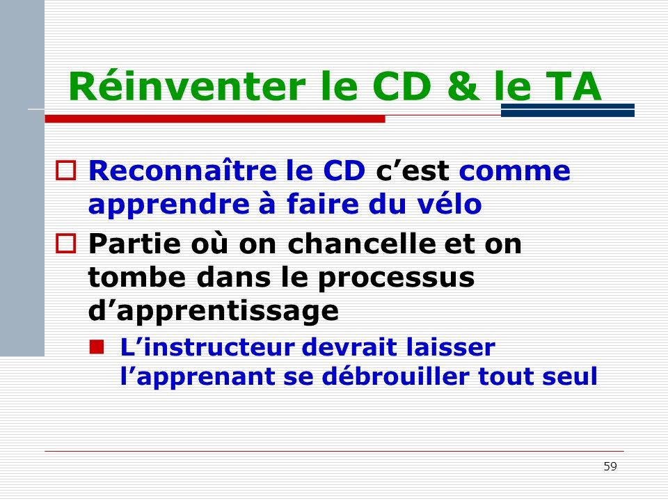 59 Réinventer le CD & le TA Reconnaître le CD cest comme apprendre à faire du vélo Partie où on chancelle et on tombe dans le processus dapprentissage Linstructeur devrait laisser lapprenant se débrouiller tout seul