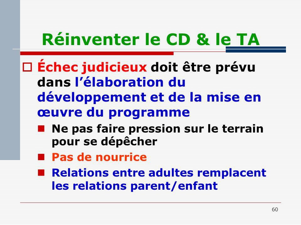 60 Réinventer le CD & le TA Échec judicieux doit être prévu dans lélaboration du développement et de la mise en œuvre du programme Ne pas faire pression sur le terrain pour se dépêcher Pas de nourrice Relations entre adultes remplacent les relations parent/enfant