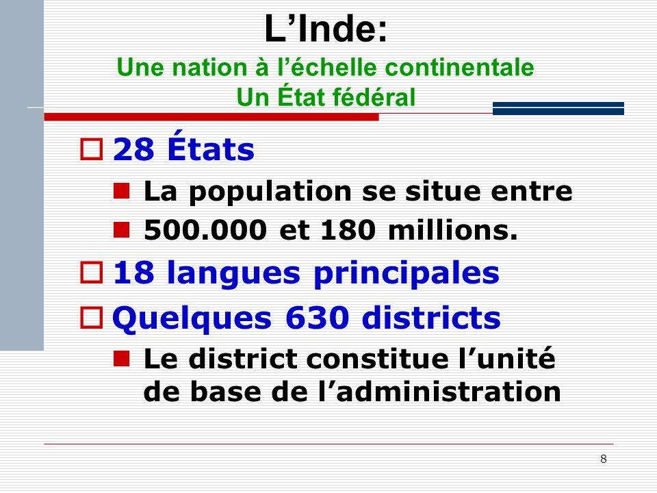 8 LInde: Une nation à léchelle continentale Un État fédéral 28 États La population se situe entre 500.000 et 180 millions.