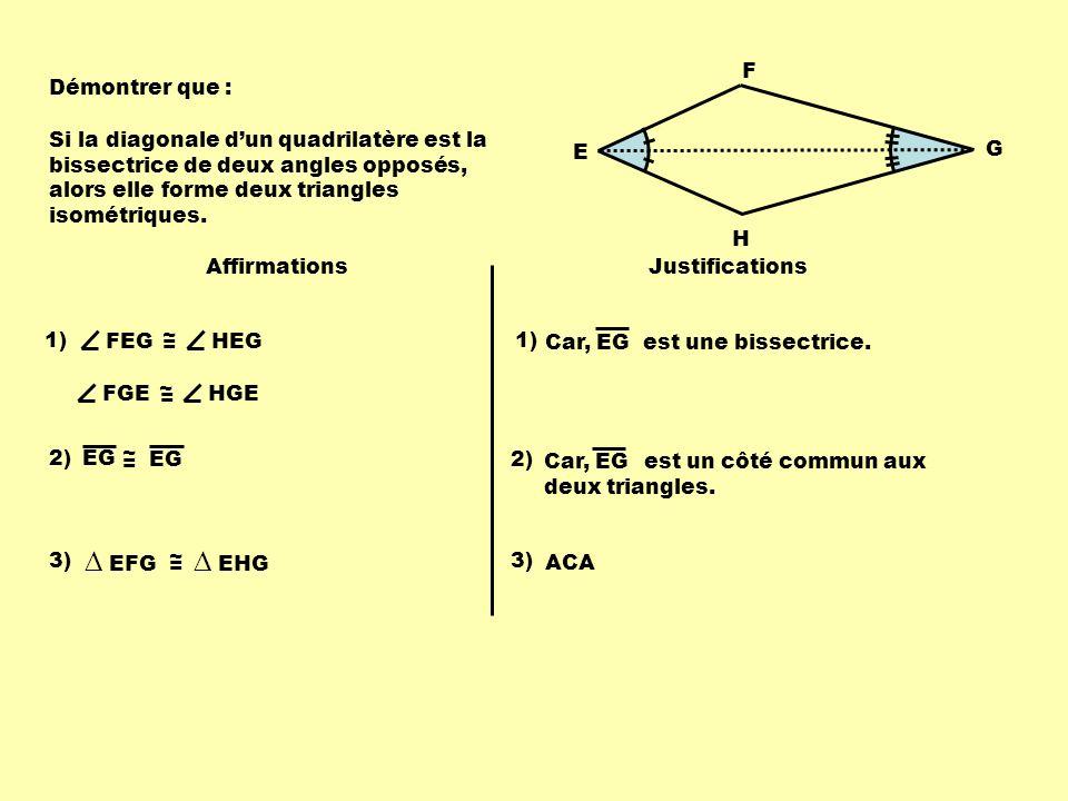 Démontrer que : E F G H Si la diagonale dun quadrilatère est la bissectrice de deux angles opposés, alors elle forme deux triangles isométriques.