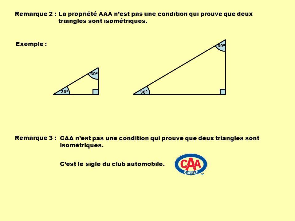 Remarque 2 : La propriété AAA nest pas une condition qui prouve que deux triangles sont isométriques.