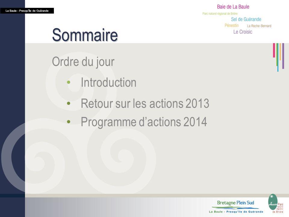 Sommaire Ordre du jour Introduction Retour sur les actions 2013 Programme dactions 2014 La Baule - Presquîle de Guérande