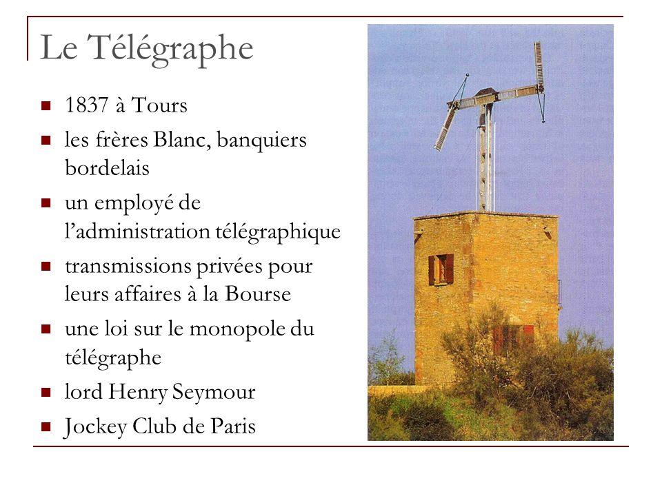 Le Télégraphe 1837 à Tours les frères Blanc, banquiers bordelais un employé de ladministration télégraphique transmissions privées pour leurs affaires