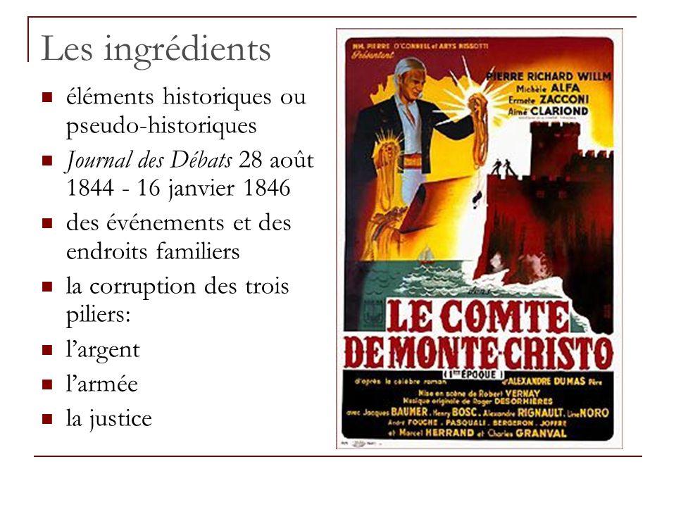 Les ingrédients éléments historiques ou pseudo-historiques Journal des Débats 28 août 1844 - 16 janvier 1846 des événements et des endroits familiers