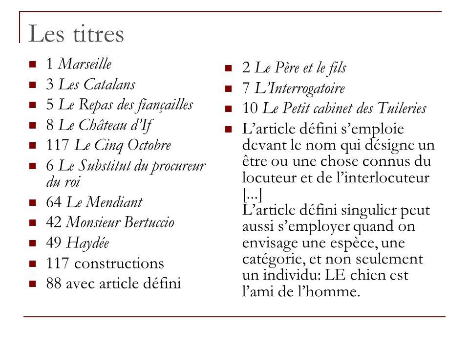 Les titres 1 Marseille 3 Les Catalans 5 Le Repas des fiançailles 8 Le Château dIf 117 Le Cinq Octobre 6 Le Substitut du procureur du roi 64 Le Mendian