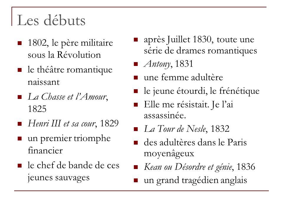 Les débuts 1802, le père militaire sous la Révolution le théâtre romantique naissant La Chasse et lAmour, 1825 Henri III et sa cour, 1829 un premier t