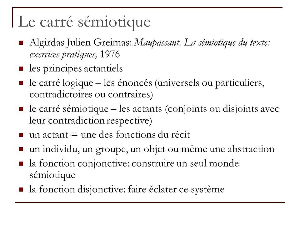 Le carré sémiotique Algirdas Julien Greimas: Maupassant. La sémiotique du texte: exercices pratiques, 1976 les principes actantiels le carré logique –