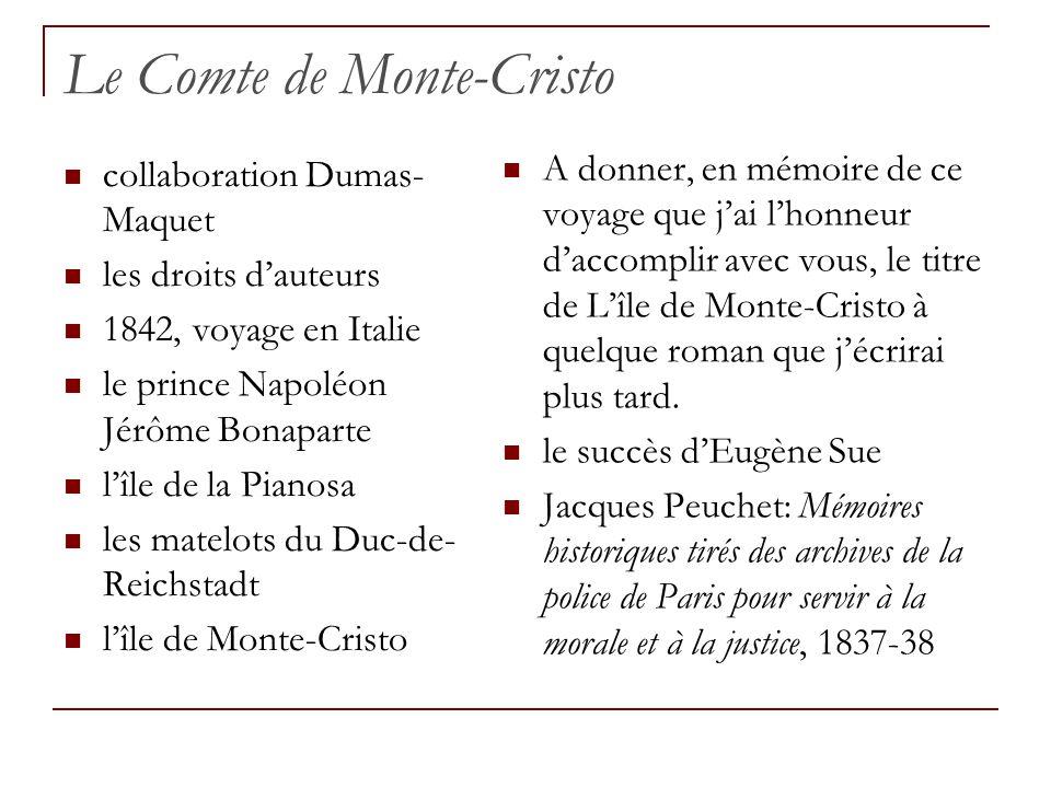 Le Comte de Monte-Cristo collaboration Dumas- Maquet les droits dauteurs 1842, voyage en Italie le prince Napoléon Jérôme Bonaparte lîle de la Pianosa