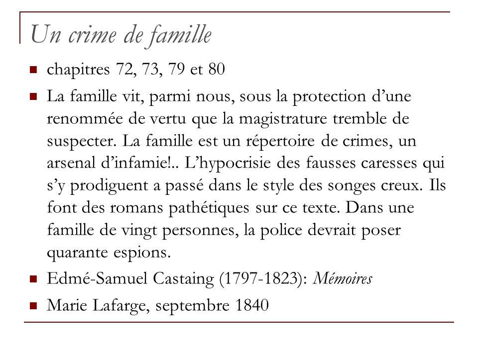 Un crime de famille chapitres 72, 73, 79 et 80 La famille vit, parmi nous, sous la protection dune renommée de vertu que la magistrature tremble de su