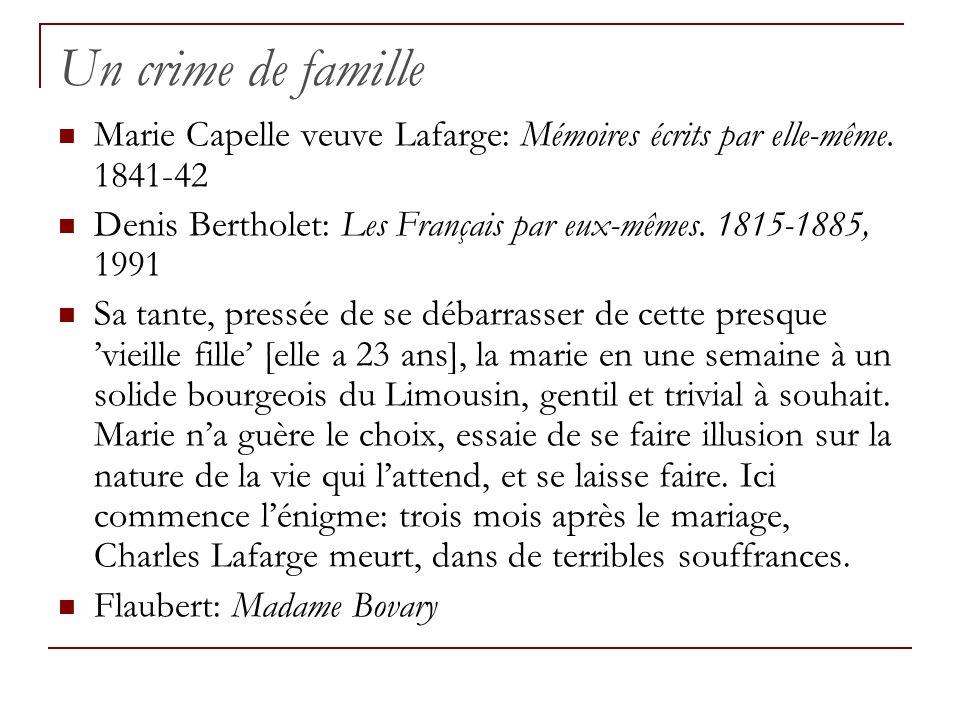 Un crime de famille Marie Capelle veuve Lafarge: Mémoires écrits par elle-même. 1841-42 Denis Bertholet: Les Français par eux-mêmes. 1815-1885, 1991 S