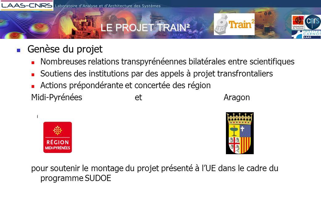 LE PROJET TRAIN² Genèse du projet Nombreuses relations transpyrénéennes bilatérales entre scientifiques Soutiens des institutions par des appels à pro