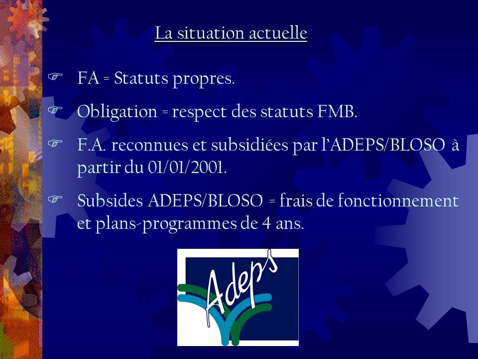 FA = Statuts propres. Obligation = respect des statuts FMB.