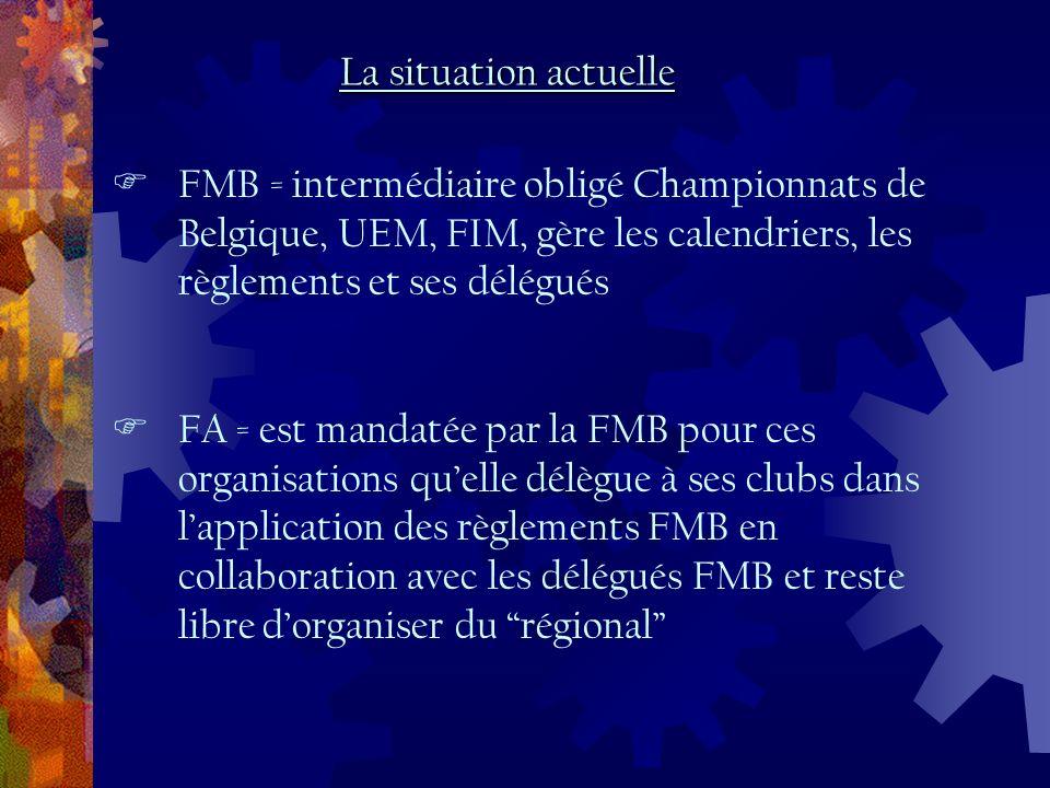 FMB = intermédiaire obligé Championnats de Belgique, UEM, FIM, gère les calendriers, les règlements et ses délégués FA = est mandatée par la FMB pour ces organisations quelle délègue à ses clubs dans lapplication des règlements FMB en collaboration avec les délégués FMB et reste libre dorganiser du régional La situation actuelle