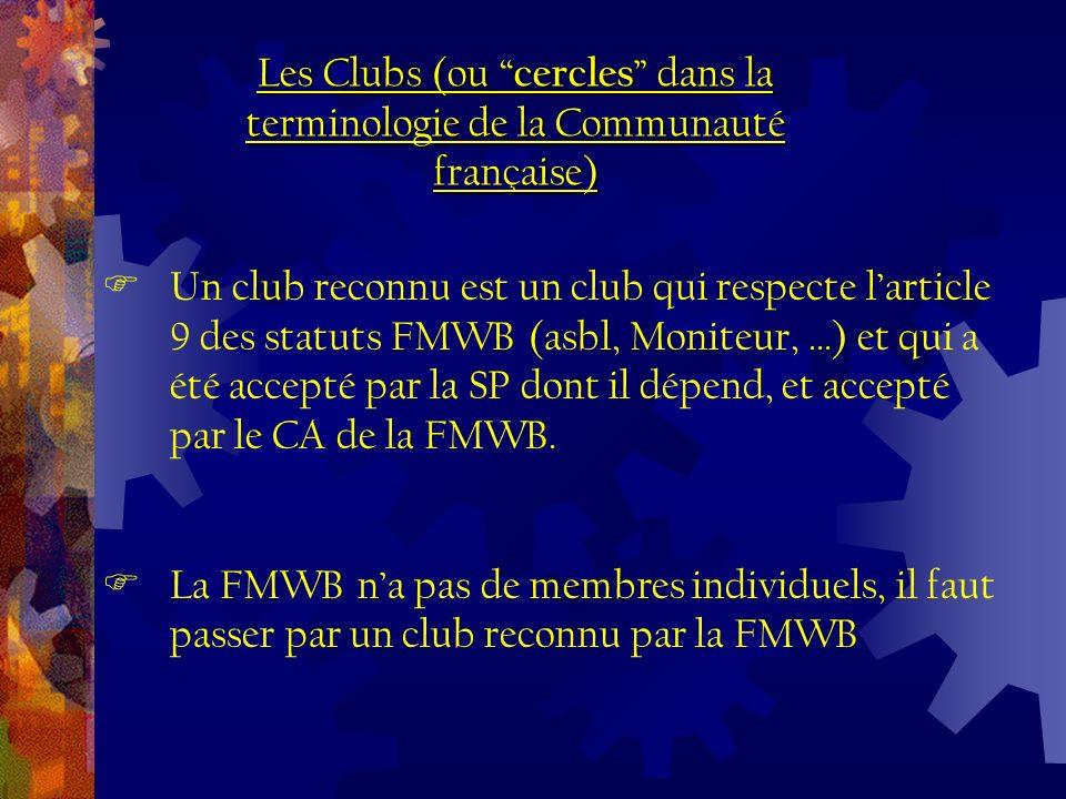 Un club reconnu est un club qui respecte larticle 9 des statuts FMWB (asbl, Moniteur, …) et qui a été accepté par la SP dont il dépend, et accepté par le CA de la FMWB.