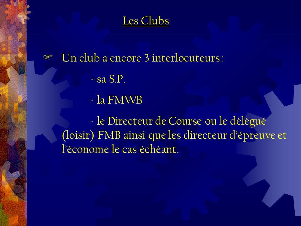 Un club a encore 3 interlocuteurs : - sa S.P. - la FMWB - le Directeur de Course ou le délégué (loisir) FMB ainsi que les directeur dépreuve et lécono