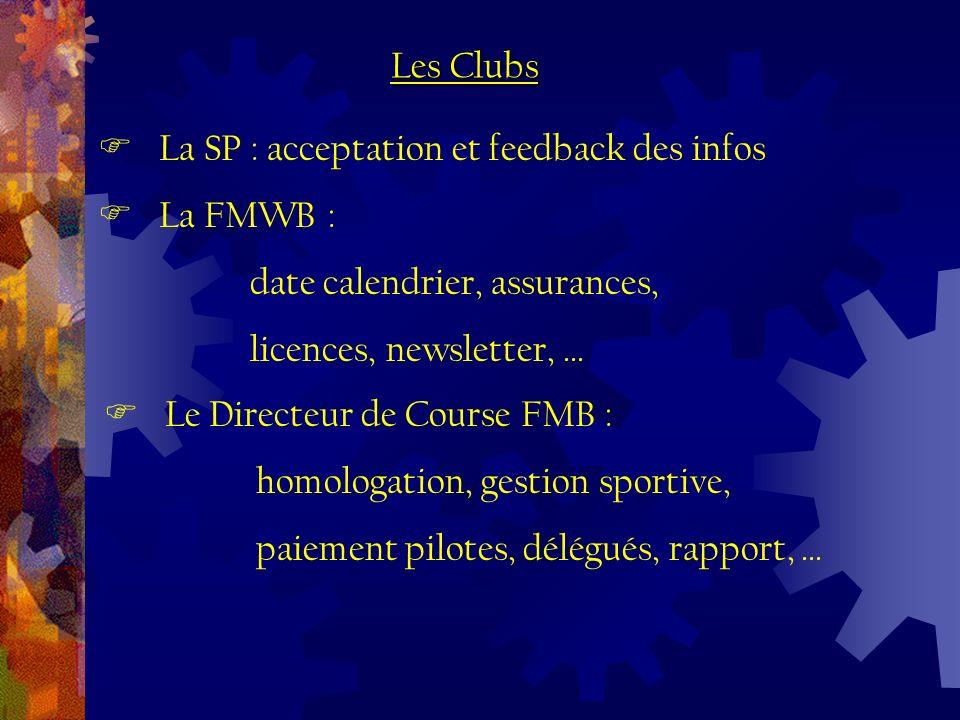La SP : acceptation et feedback des infos La FMWB : date calendrier, assurances, licences, newsletter,...