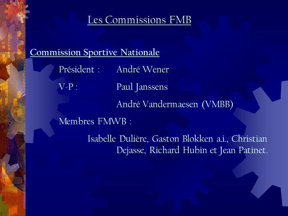 Commission Sportive Nationale André Wener Président :André Wener V-P :Paul Janssens André Vandermaesen (VMBB) Membres FMWB : Isabelle Dulière, Gaston Blokken a.i., Christian Dejasse, Richard Hubin et Jean Patinet.