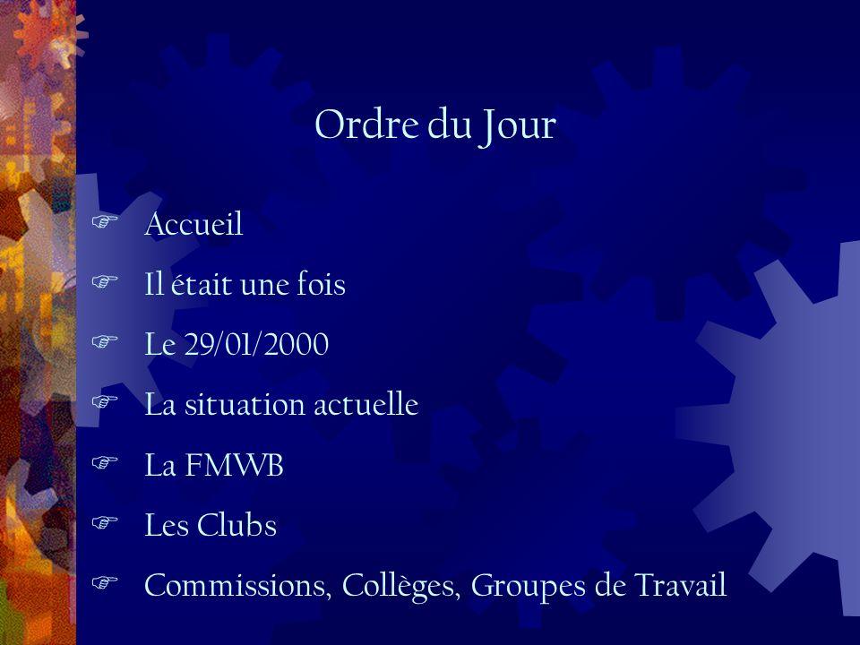 Accueil Il était une fois Le 29/01/2000 La situation actuelle La FMWB Les Clubs Commissions, Collèges, Groupes de Travail Ordre du Jour