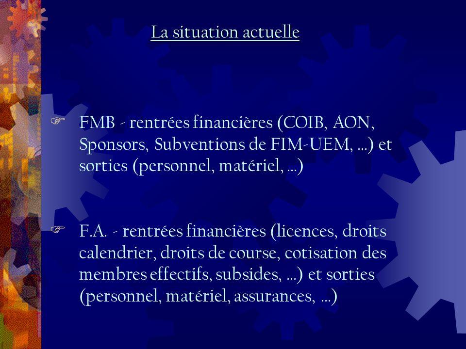 FMB - rentrées financières (COIB, AON, Sponsors, Subventions de FIM-UEM, …) et sorties (personnel, matériel, …) F.A.
