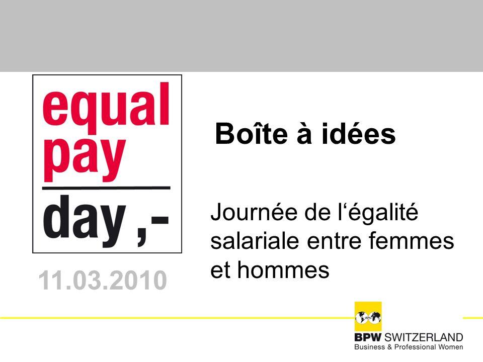 Journée de légalité salariale entre femmes et hommes 11.03.2010 Boîte à idées