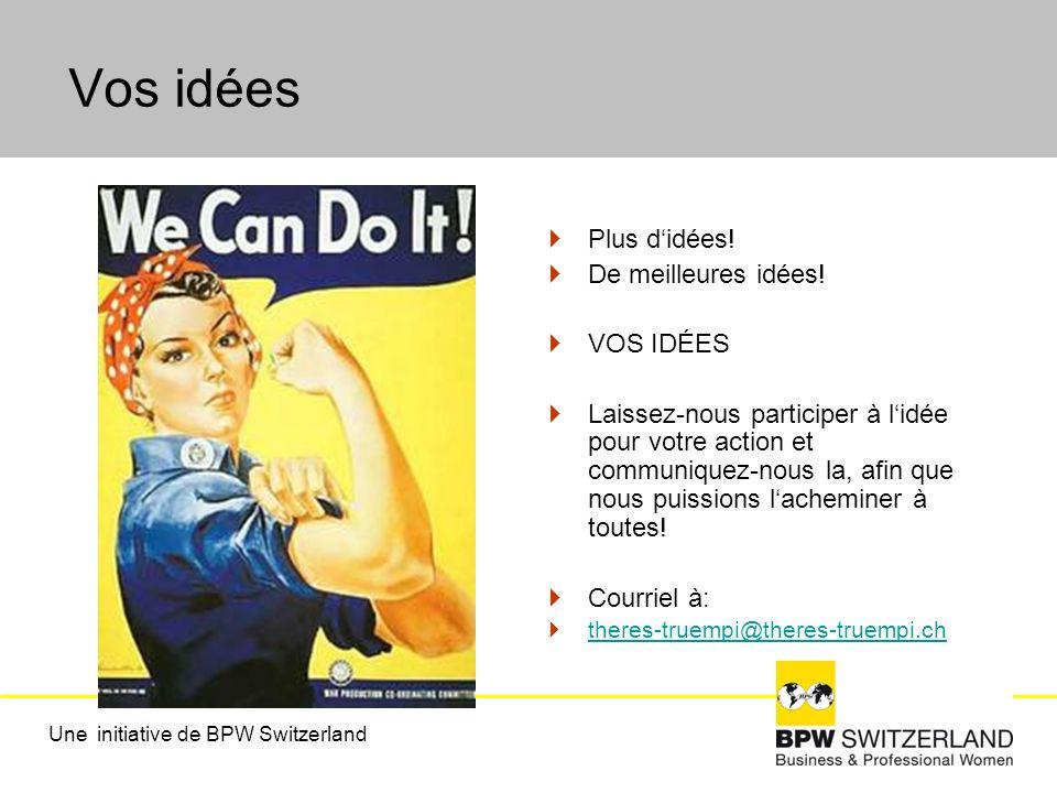 Vos idées Plus didées! De meilleures idées! VOS IDÉES Laissez-nous participer à lidée pour votre action et communiquez-nous la, afin que nous puission