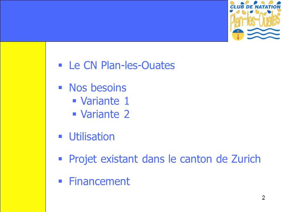 2 Le CN Plan-les-Ouates Nos besoins Variante 1 Variante 2 Utilisation Projet existant dans le canton de Zurich Financement