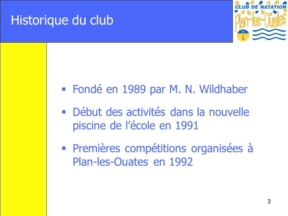 3 Historique du club Fondé en 1989 par M. N. Wildhaber Début des activités dans la nouvelle piscine de lécole en 1991 Premières compétitions organisée