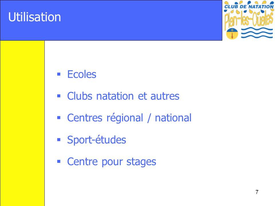 7 Utilisation Ecoles Clubs natation et autres Centres régional / national Sport-études Centre pour stages
