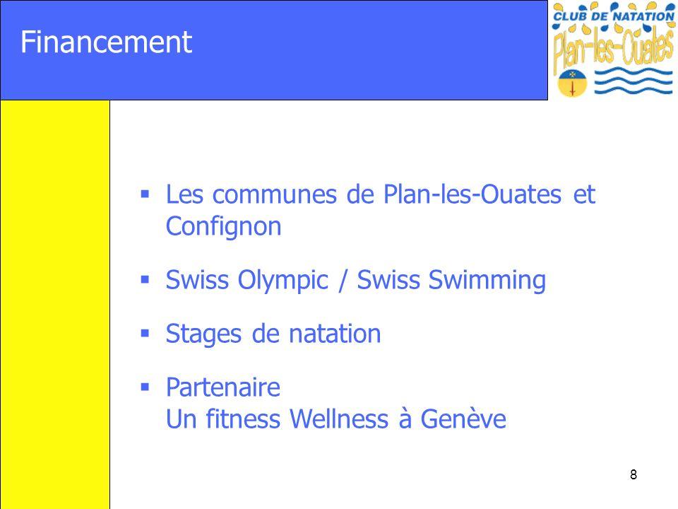 8 Financement Les communes de Plan-les-Ouates et Confignon Swiss Olympic / Swiss Swimming Stages de natation Partenaire Un fitness Wellness à Genève