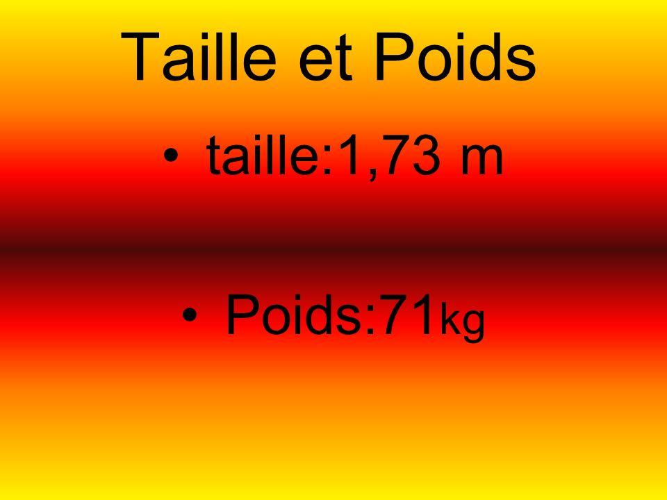 Taille et Poids taille:1,73 m Poids:71 kg